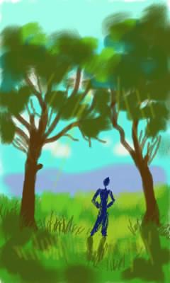 Man under trees